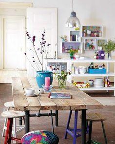 mesa tablones + celeste