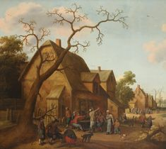 Old Masters, British & European Paintings - 04 Mar 2020 LOT 224 Village scene with figures at a table outside a house by Joost Cornelisz Droochsloot (Dutch Estimate: - European Paintings, Old Master, Wallis, A Table, Masters, Dutch, The Outsiders, Old Things, British