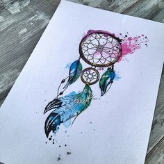Watercolor dreamcatcher with feather tattoo design