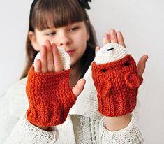autumn sale, for KIDS FOX fingerless GLOVES mittens gift wool crochet winter girl teen cozy ginger red forest animals forest Crochet Winter, Crochet For Kids, Crochet Scarves, Knit Crochet, Crochet Gloves Pattern, Trendy Kids, Crochet Gifts, Beautiful Crochet, Mitten Gloves