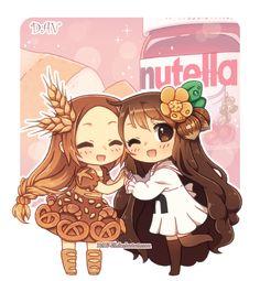 Bread and Nutella chibi's