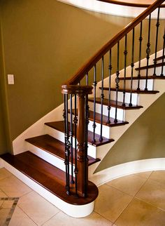 Wrought Iron Stair Spindles and dark stained stairs/baluster Flooring For Stairs, Hardwood Stairs, Wooden Stairs, Wrought Iron Stair Spindles, Iron Balusters, Iron Spindle Staircase, Staircase Remodel, Staircase Railings, Banisters