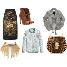 A fashion look from October 2014 featuring slim fit shirts, moto jacket and floral skirts. Browse and shop related looks. Floral Print Skirt, Floral Prints, Shoe Bag, Skirts, Polyvore, Stuff To Buy, Shopping, Collection, Shoes