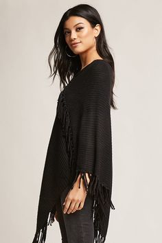 Product Name:Fringe Sweater-Knit Poncho, Category:sweater, Price:45
