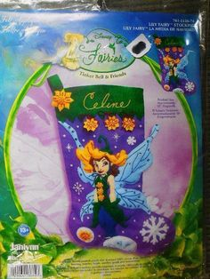 New 2007 Christmas Stocking Kit Janlynn Disney Felt Lily Fairy Tinker Bell for sale online Christmas Stocking Kits, Christmas Stockings, Disney Fairies, Felt Applique, Tinker Bell, Embroidery Kits, Fairy, Friends, Xmas