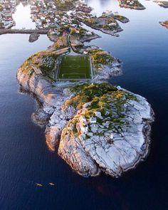 Henningsvær Stadium in Lofoten Islands, Norway   Photo by ghatroad