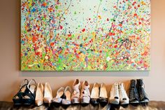 ART... SPLATTER PAINT- This is a type of painting in which the artist takes the paint brush, dips it in a particular color, and splatters it onto the canvas by whipping the brush. He/She may repeat the process with a variety of colors. #DefineMyStyle