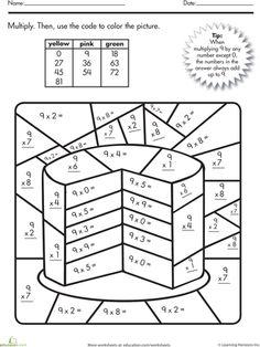Worksheets: Multiplication Color by Number: Cake