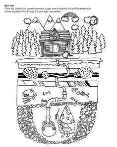 "indie rock coloring book-- ""for emma, forever"" page that proves drinking water in the cabin where album was written was enchanted :)"