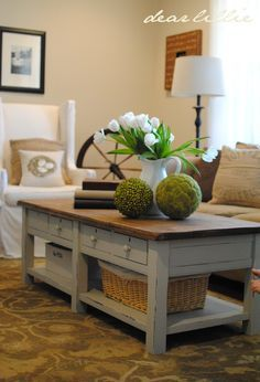 Love the chunky legs. Nice table makeover Dear Lillie: Coffee Table Step by… Coffee Table Design, Cool Coffee Tables, Decorating Coffee Tables, Coffe Table, Coffee Table Ideas For Living Room, Redone Coffee Table, Country Coffee Table, Rustic Coffee Tables, Furniture Makeover