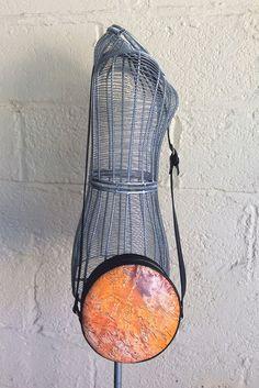 Round Leather / Vinyl Handbag  Wearable Art by Juliewinndesigns