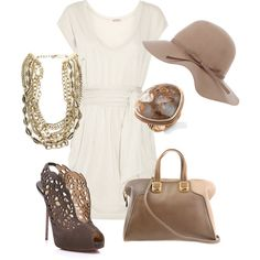 love these shoes & the hat! i might add a pop of color somewhere... purse maybe... i say that as i carry my big CREAM neutral purse every day! ha!
