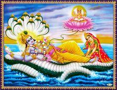 Brahma Emerging From The Navel of Vishnu with Lakshmi At His Feet - Hindu Posters (Reprint on Paper - Unframed) Images Wallpaper, Photo Wallpaper, Lord Krishna, Lord Shiva, Krishna Radha, Bhagavata Purana, Shiva Art, Hindu Art, Hindu Dharma