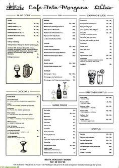 Se menukort. Bestil take away eller bord. Ring direkte til Cafe Fatamorgana København N og spar penge. Spiritus, Champagne Cocktail, Ale, Bubbles, Cocktails, Caipirinha, Cocktail Parties, Ale Beer, Ales