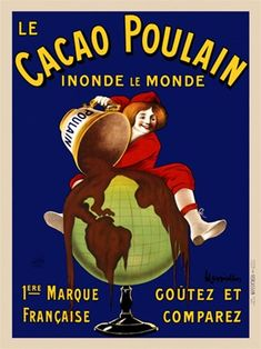 Cacao Poulain poster ad by Leonetto Cappiello 1911 France - Beautiful Vintage Posters Reproductions.