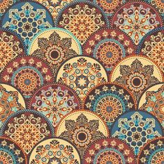 Seamless abstract pattern of trendy colored abstract floral circles. Can be used for wallpaper, surface textures, textile etc. Batik Pattern, Pattern Art, Abstract Pattern, Pattern Ideas, Paisley Pattern, Tile Patterns, Textures Patterns, Backgrounds Wallpapers, Vintage Diy