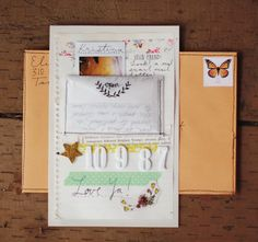 Delightfully Tacky: Snail Mail - I love this idea, she has written a letter, put the letter in a little envelope on a little mini scrapbook page to post off to someone very lucky!!