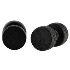 Black Real Wood Round Men's Stud Earrings Fake Plug Design 8mm by Urban Male