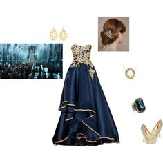 Yule Ball:this would be my gown (but it wouldn't be sleeveless but one shouldered like fleurs) and shoes, but not the hair and jewelry