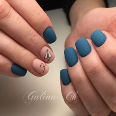 Short Nail Designs, Simple Nail Designs, Nail Art Designs, Matte Nail Polish, Acrylic Nails, Blue Matte Nails, Red Nail, Orange Nail, White Polish
