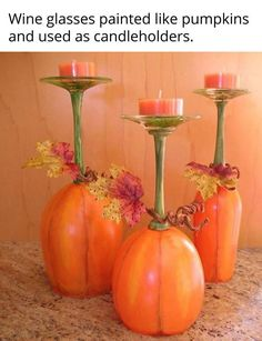 These are so cool... wish I were a crafty person and could paint the glasses to look just like pumpkins.  Found on scontent-iad3-1.xx.fbcdn.net
