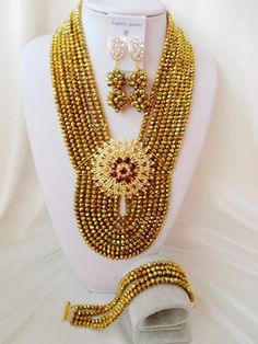 Gold Plated Crystal necklace fornigerian handmade beads women costume jewellry nigerian wedding african beads jewelry set
