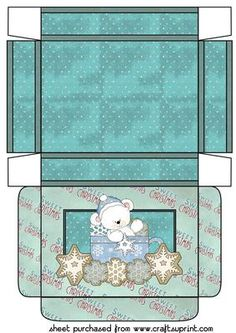 Polar bear christmas  gift treat box 5 on Craftsuprint designed by Sharon Poore