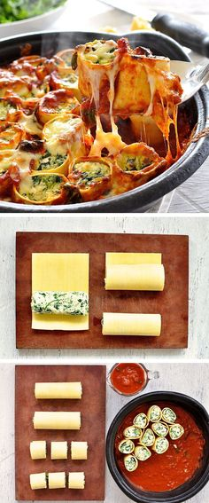Cannelloni on steroids! Pasta sheets rolled with spinach and ricotta and baked in sauce... the stuff of dreams.