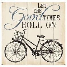 """Paneled wood wall art with a bicycle motif and typographic details.   Product: Wall artConstruction Material: WoodFeatures: Ready to hangDimensions: Small: 13"""" H x 13"""" W Large: 18"""" H x 18"""" WNote: All hardware includedCleaning and Care: Wipe with a damp cloth"""