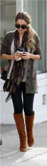 fall, winter, brown sweater, purple brown patterned scarf, skinny jeans, dark denim, black leggings, brown boots, black bag