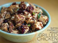 Jenessa's Dinners: quinoa cranberry almond grilled chicken salad