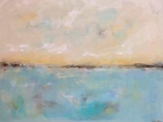 Large Colorful Abstract Seascape  Seaside Calm 40 by lindadonohue, $695.00