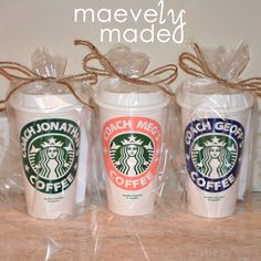 Coaches need coffee too, especially to keep up with the ups and downs of coaching a kids' league or high school team! This gift of maevelymade personalized Starbucks cups for three coaches really made us happy! Order one for your favorite coach today!