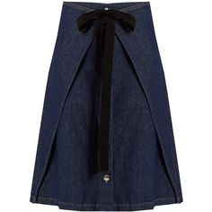 MM6 by Maison Margiela Wrap-front A-line denim skirt featuring polyvore, women's fashion, clothing, skirts, indigo, tie wrap skirt, blue wrap skirt, denim wrap skirt, a line skirt and wrap skirt