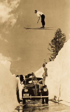 This must be Tahoe - vintage ski jumping. Ski And Snowboard, Snowboarding, Vintage Photography, White Photography, Vintage Ski Posters, Ski Jumping, Northern California, Art Images, Old Photos