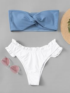 Shop Two Tone Twist Top With Frill Trim Bikini Set online. SheIn offers Two Tone… Shop Two Tone Twist Top With Frill Trim Bikini Set online. SheIn offers Two Tone Twist Top With Frill Trim Bikini Set & more to fit your fashionable needs. Summer Bathing Suits, Cute Bathing Suits, Cute Swimsuits, Women Swimsuits, Green Lingerie, Summer Outfits, Cute Outfits, Bikini Outfits, Beachwear