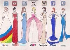 Social media dresses -------- The sad part is I saw Gizelle, Mulan, Merida, Sleeping Beauty, Belle, Ariel, as Elsa.....