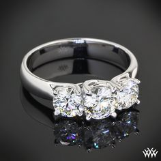 3 Stone Trellis Diamond Engagement Ring featuring 0.504ct A CUT ABOVE