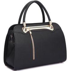 Dasein Fashion Goldtone Satchel Handbag (Black) afca65d2025a3