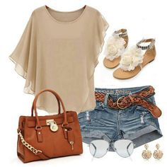I seriously love the Jorts and belt combo, add in the earrings and shades and it's a perfect summer evening outfit!