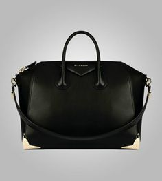 Givenchy Antigona Bag - Black With Gold Metal Corners ... I wish this came in a small