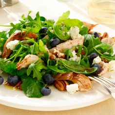 Grilled Chicken Salad with Fresh Blueberries, Pecans and Honey-Poppy Vinaigrette