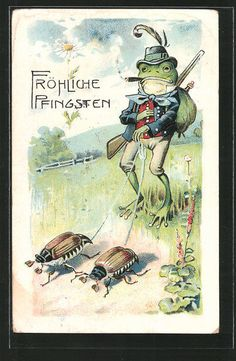 AK vermenschlichter Frosch führt als Jäger zwei Marienkäfer an der Leine, Pfing in Sammeln & Seltenes, Ansichtskarten, Motive | eBay