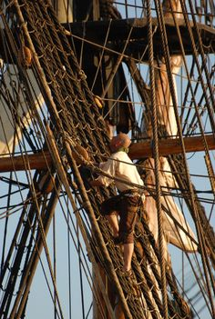 Ana Maria is scolded when she expresses her desire to climb. Climbing the rig of the Swedish Ship Götheborg. carré, navire à voile Theme Pictures, Sea Captain, Wooden Ship, Black Sails, Pirate Life, Wooden Boats, Model Ships, Tall Ships, Royal Navy