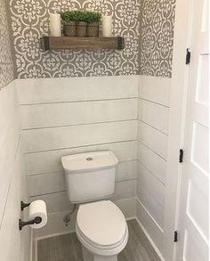 Farmhouse bathroom with half wall shiplap wainscoting and stenciled walls. Farmhouse bathroom with half wall shiplap wainscoting and stenciled walls. Farmhouse bathroom with half wall shiplap wainscoting Downstairs Bathroom, Laundry In Bathroom, Small Bathroom, Master Bathroom, Bathroom Ideas, Bathroom Remodeling, Remodeling Ideas, Bath Ideas, Bathroom Makeovers