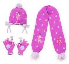 Kidorable Little Girls Lotus Hat Scarf Gloves Knitwear Winter Set 3-6 years