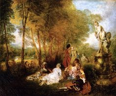 Jean-Antoine Watteau - The Love Festival, oil on canvas, 61 x 75 cm, Gemäldegalerie Alte Meister © State Art Collections in Dresden. Rococo Painting, Oil Painting Reproductions, Google Art Project, Rembrandt, Jean Antoine Watteau, Feast Of Love, Oil On Canvas, Canvas Art, Francisco Goya