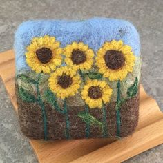 Felted Soap - Unscented with a Yellow Sunflower Needle Felted Design by Alaiyna B. Bath and Body