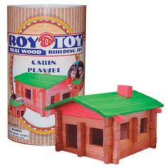 Roy Toy Log Cabin Mini Canister (73 pieces) from Channel Craft. These Log Building Sets are still made of real wood and are some of the most versatile building pieces around.  Authentic American Game by Channel Craft Made in the U.S.A. since 1930. $14.90