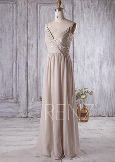 2016 Light Gray Bridesmaid Dress V Neck Wedding Dress by RenzRags